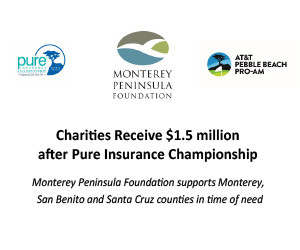 Charities Receive $1.5 million after Pure Insurance Championship - Monterey Peninsula Foundation supports Monterey, San Benito and Santa Cruz counties in time of need